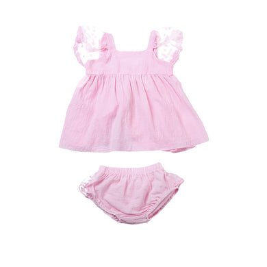 Pink ruffles set with gorgeous bloomer tutu bottoms and lace bow dress top