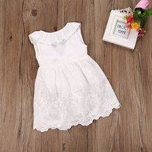 White lace ruffled party dress with back bow