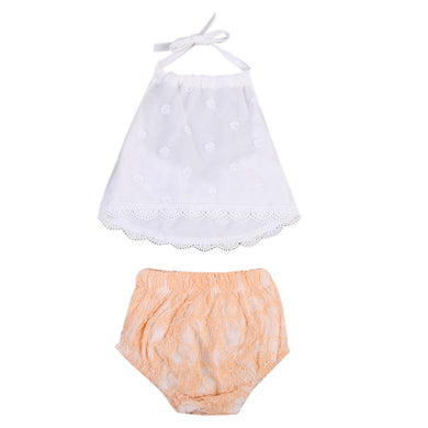 Adorable backless Lace crop top and bloomer set