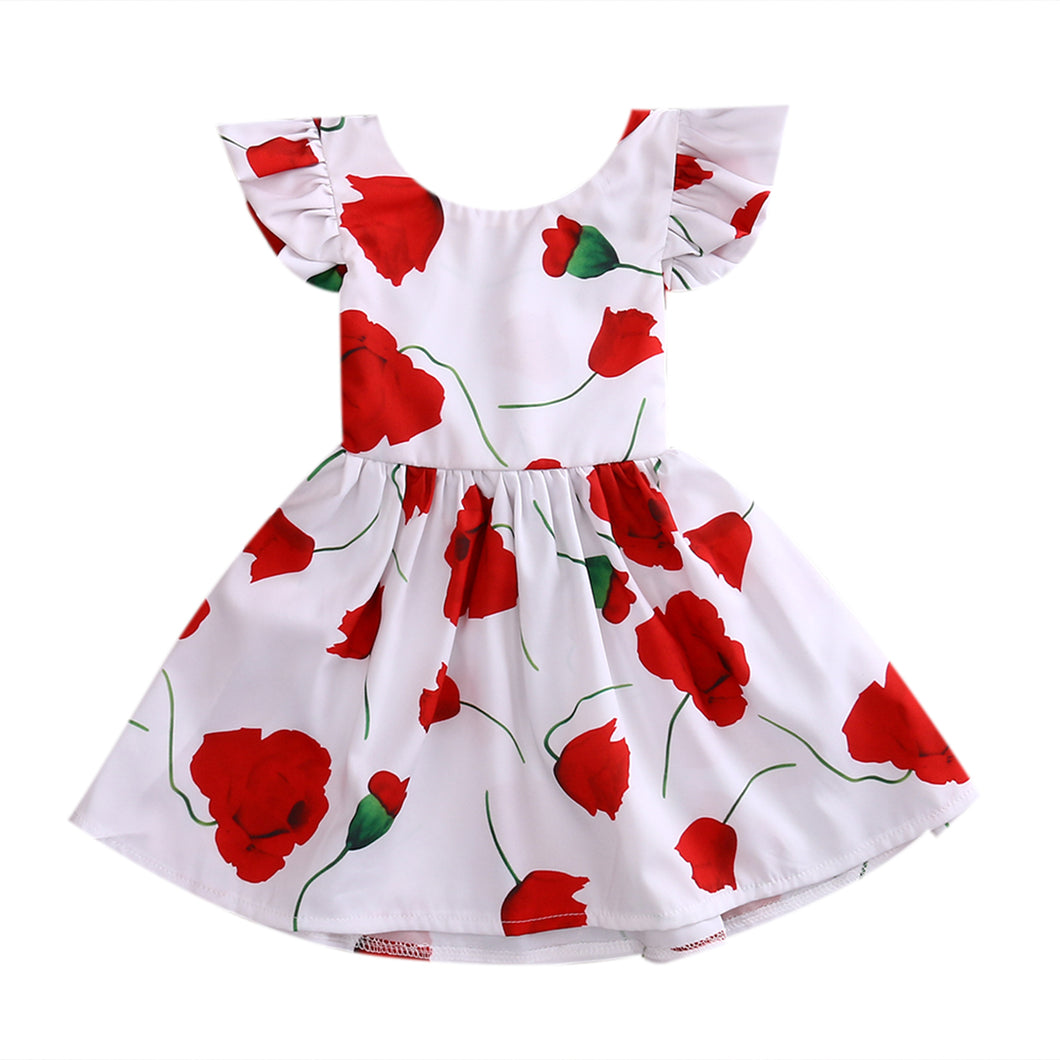 White party dress with red rose flower's