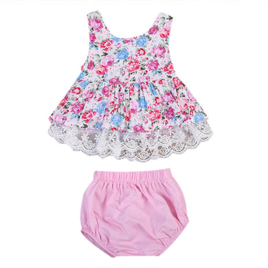 Girls floral lace mini dress and pink bloomer pant set