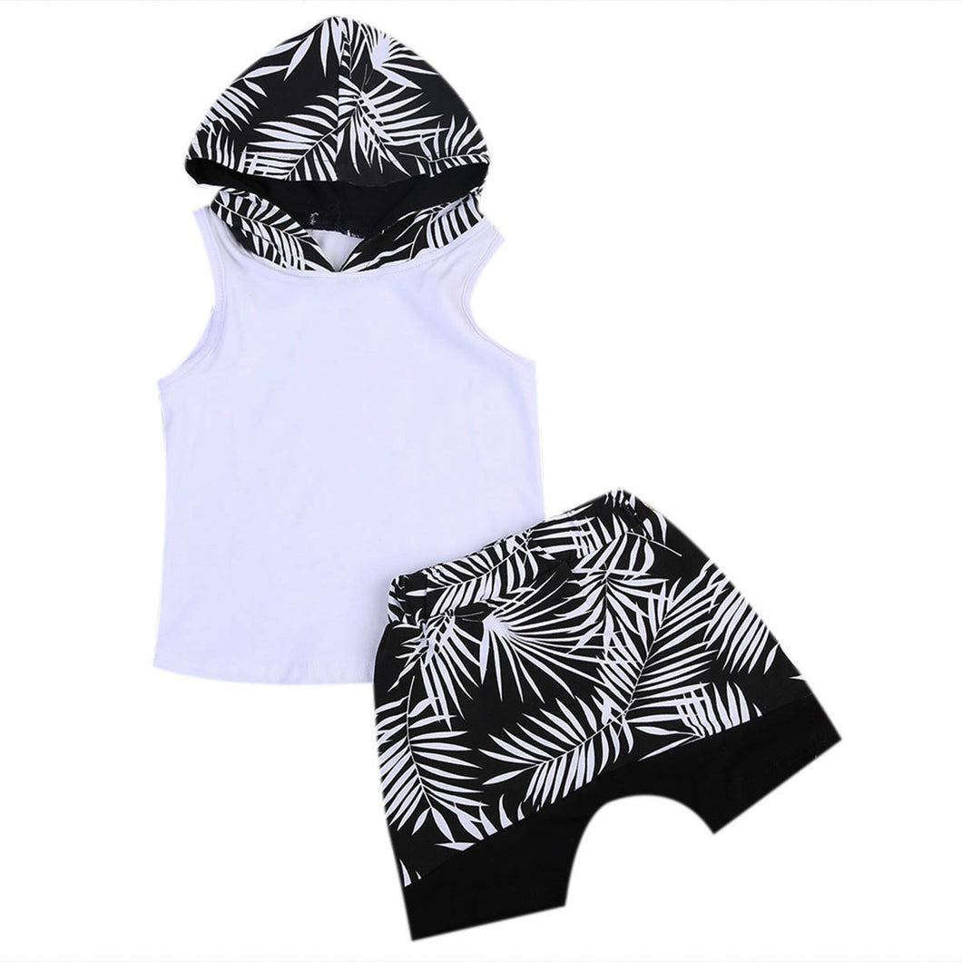 Fern print sleeveless hooded top with adorable matching shorts.