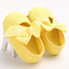 yellow Spring/Autumn cute toddler girls leisure walker soft cotton shoes and cute bow.