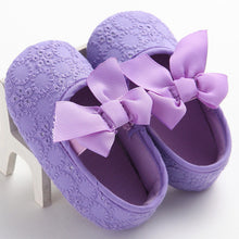 purple Spring/Autumn cute toddler girls leisure walker soft cotton shoes and cute bow.