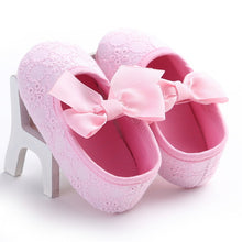 pink Spring/Autumn cute toddler girls leisure walker soft cotton shoes and cute bow.