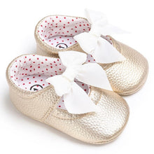 gold Beautiful girls bowknot princess slipper soft shoes.