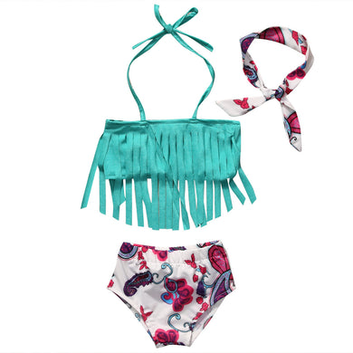 Fun Tassel Bikini top with floral print bottoms and matching headband.