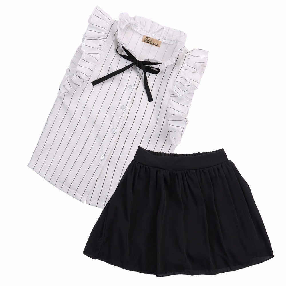 This 2 piece set includes a gorgeous sleeveless striped top with ribbon bow and black pantskirt