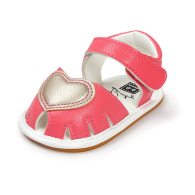 Beautiful Summer girls shoes with anti-skid sole and heart feature.