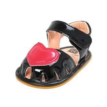 black Beautiful Summer girls shoes with anti-skid sole and heart feature.