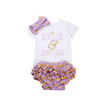 Gorgeous 3PC romper set with gold polka dot pink ruffled bloomers and a matching bow headband