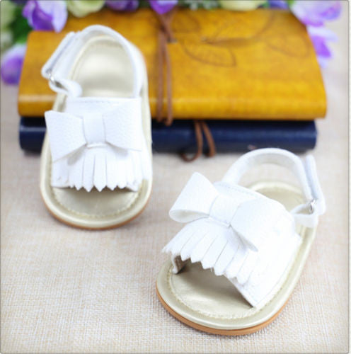 white Beautiful baby girls tassel sandals