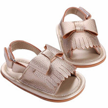 gold Beautiful baby girls tassel sandals