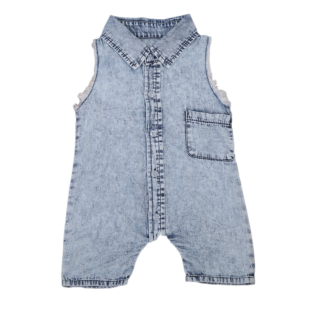 Unisex sleeveless denim jumpsuit onesie.