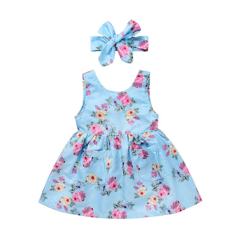 blue Beautiful summer party dress with matching headband