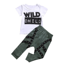 "Hip set with fashionable harem pants and ""Wild Child"" printed t-shirt."