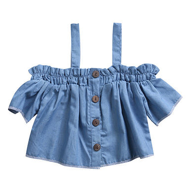 Trendy off shoulder kids denim top with button detail