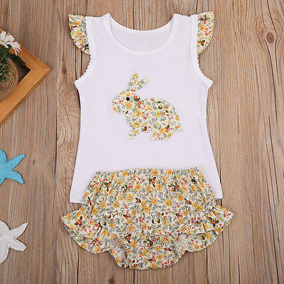 yellow Beautiful girls 2 piece clothing set including gorgeous rabbit print top with capped sleeves and matching floral bloomers.