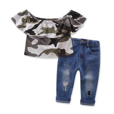 Girls Camo Crop Tops & Jeans Set