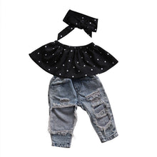 Cute off the shoulder polka dot tank top with matching headband and trendy denim jean pants