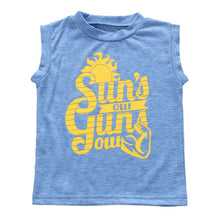 Sun's Out Gun's Out printed blue sleeveless t-shirt.
