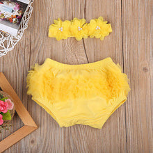 Adorable yellow lace bloomers with matching floral headband.
