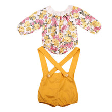 Floral Blouse and Overalls Set