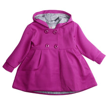 Girls purple hooded lined coat.