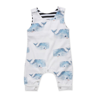 Adorable, whale print sleeveless jumpsuit