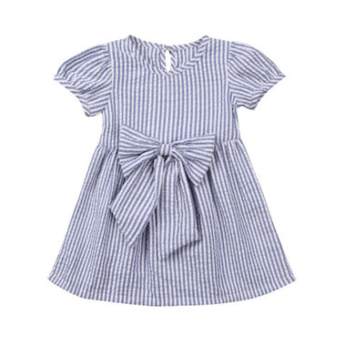 Light blue striped bow summer dress