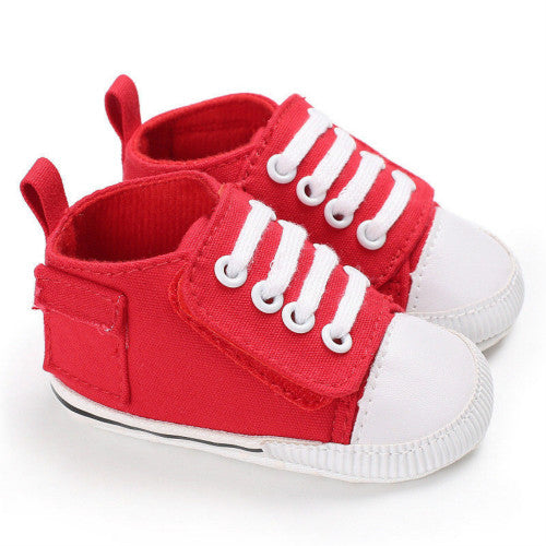 Red baby casual canvas shoes