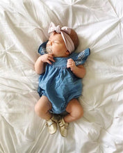 Capped Sleeve Denim Romper