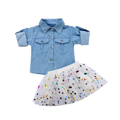 Denim Shirt and Polka Dot Tutu Skirt Set