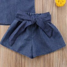 Denim Ruffled Top and Shorts Set
