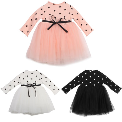 Long Sleeve Polka Dot Tutu Dress
