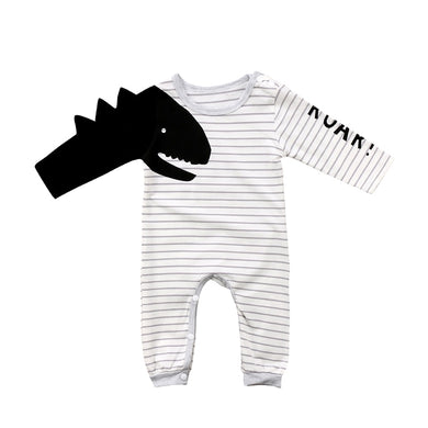 Dinosaur Long Sleeve Striped Romper