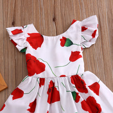 White party dress with red Rose flower's.