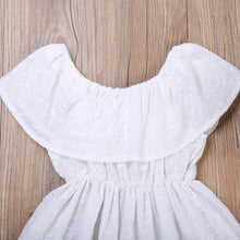 Adorable white lace sundress with off the shoulder ruffled collar
