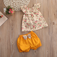 Gorgeous girls summer floral top with mustard shorts and bow detail