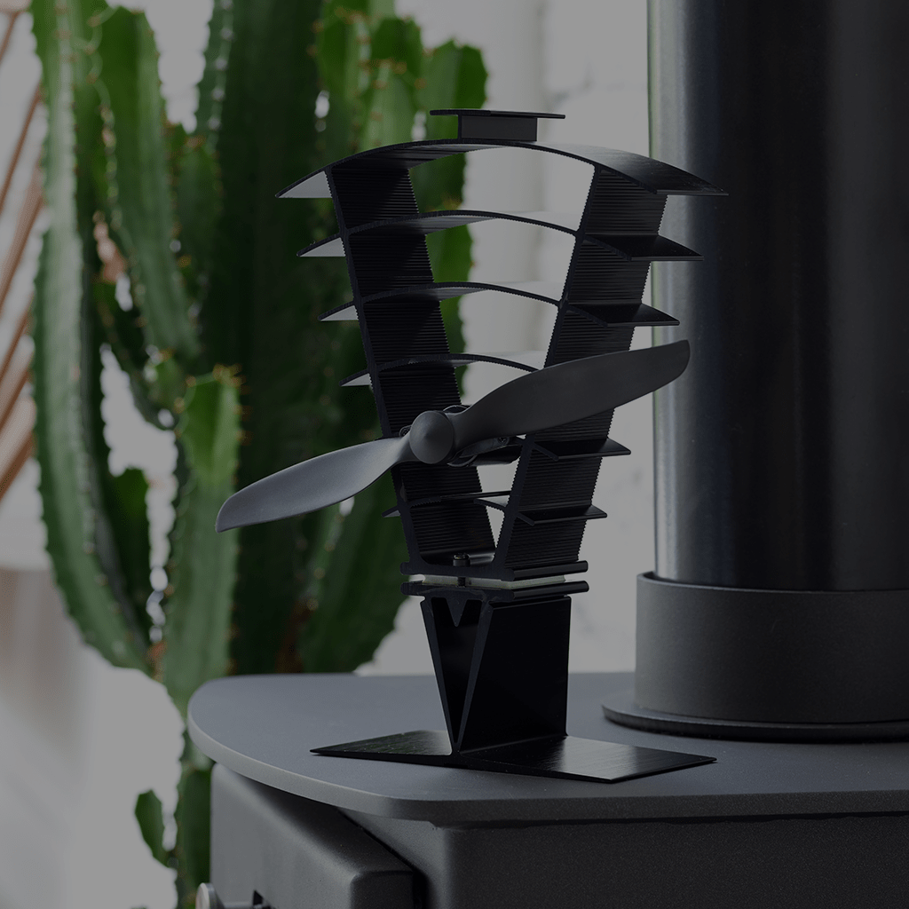 Valiant lifestyle Vanquish 250 stove fan on top of stove with cactus in background
