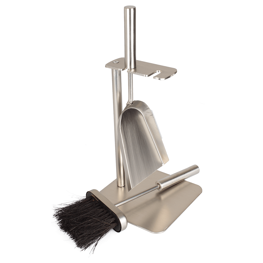 Valiant brushed steel Petite Companion Set with brush and shovel on white background