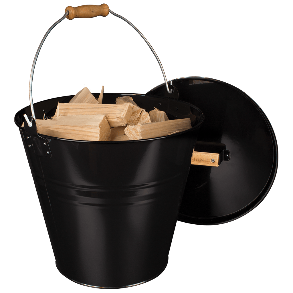 Valiant Fireside Bucket open with kindling, on white background