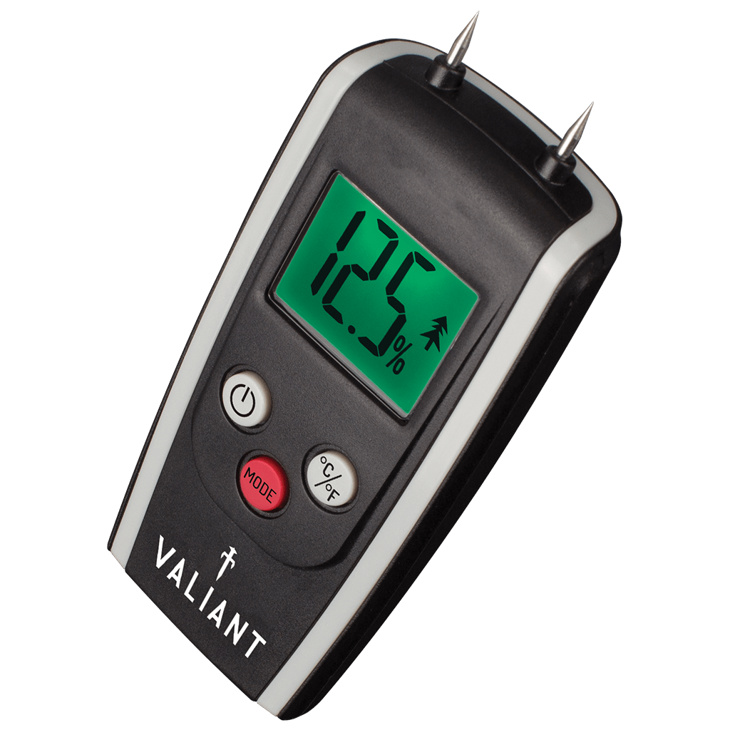 Angled image of Valiant Colour Change Moisture Meter showing green screen, on white background