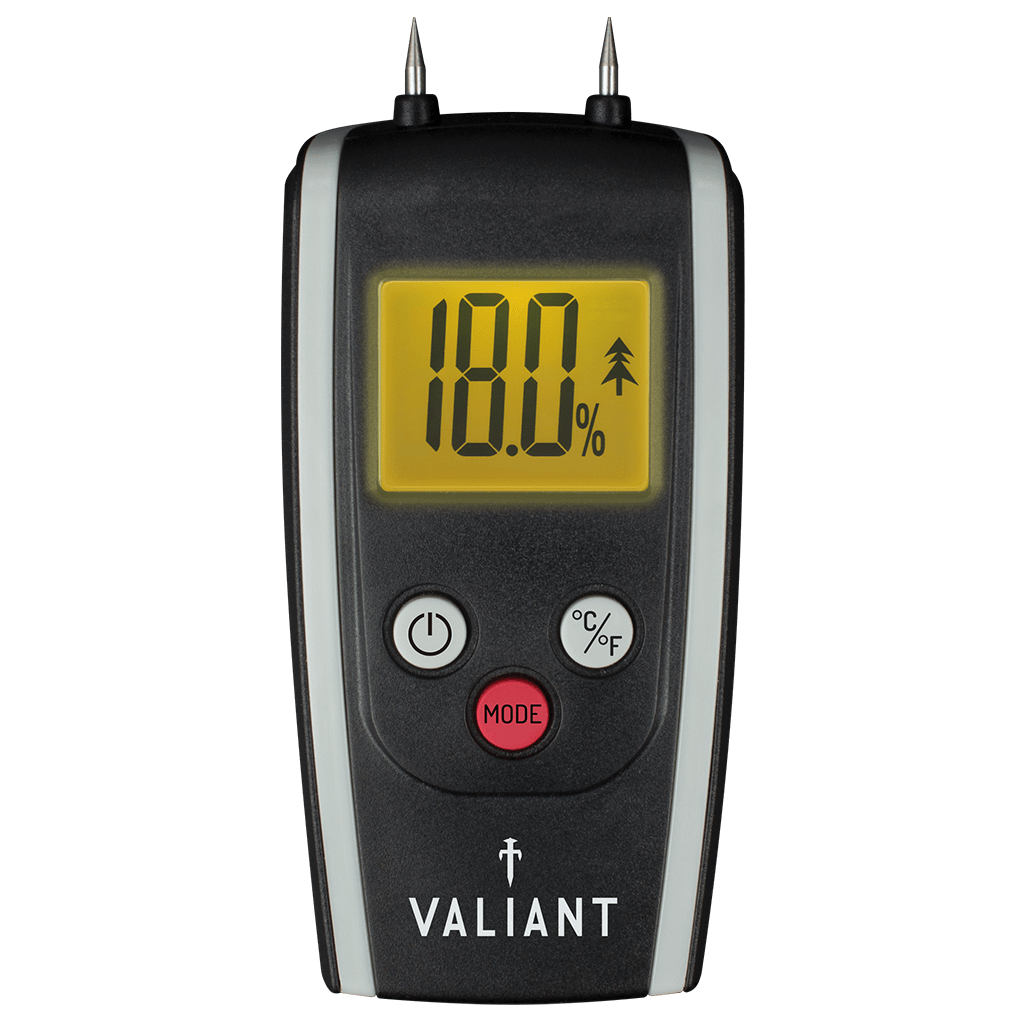 Valiant Colour Change Moisture Meter showing yellow screen, on white background