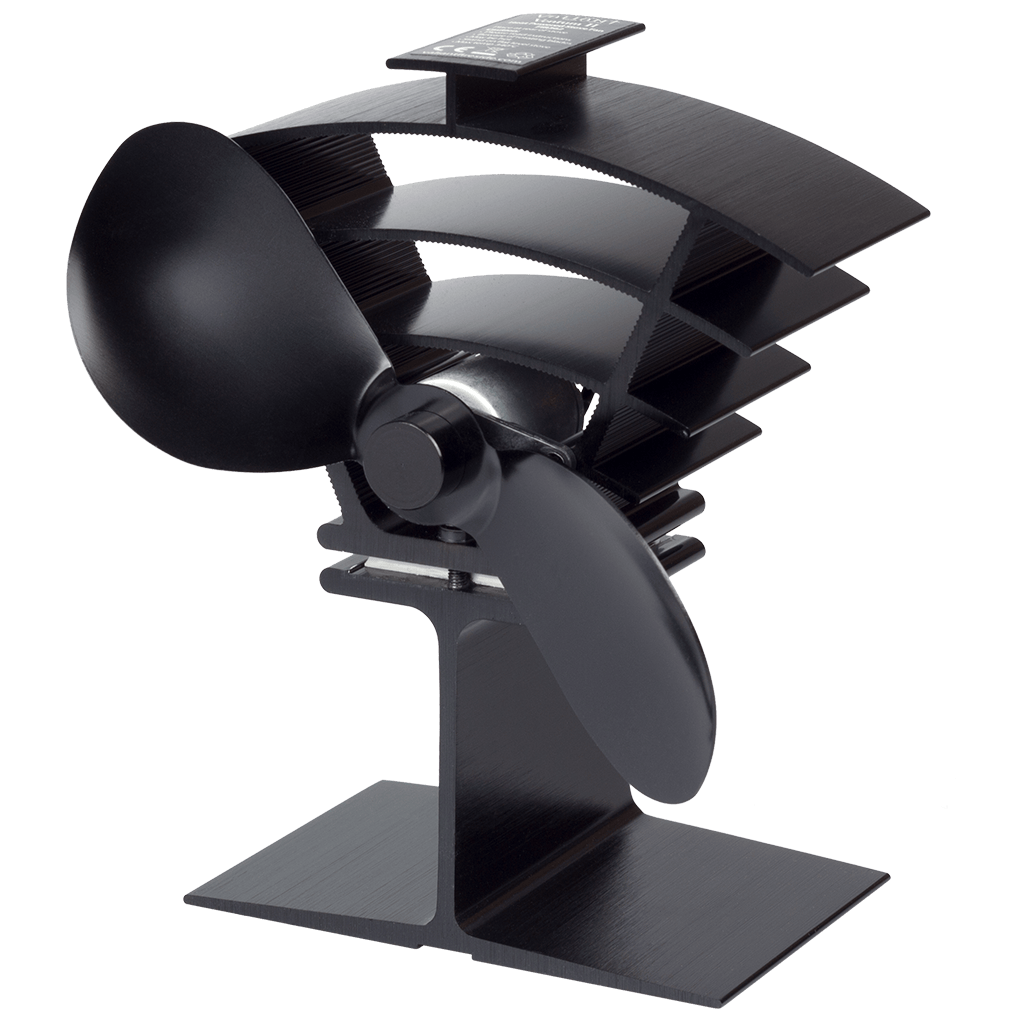 A photo of the Ventum II Heat Powered Stove Fan on a white background.