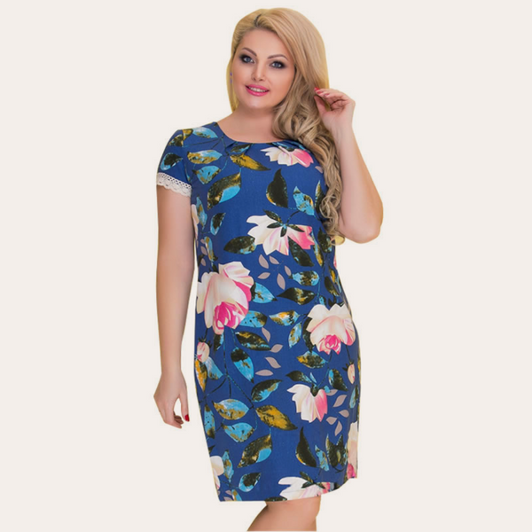Dark Blue Floral Print Vintage Dress-Laura Sonia