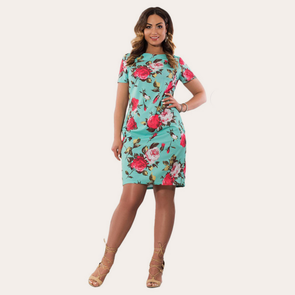 Sky Blue Floral Print Vintage Dress-Laura Sonia
