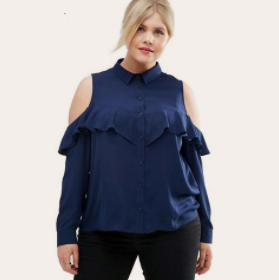 Cold Shoulder Ruffle Long Sleeve Blouse-Laura Sonia
