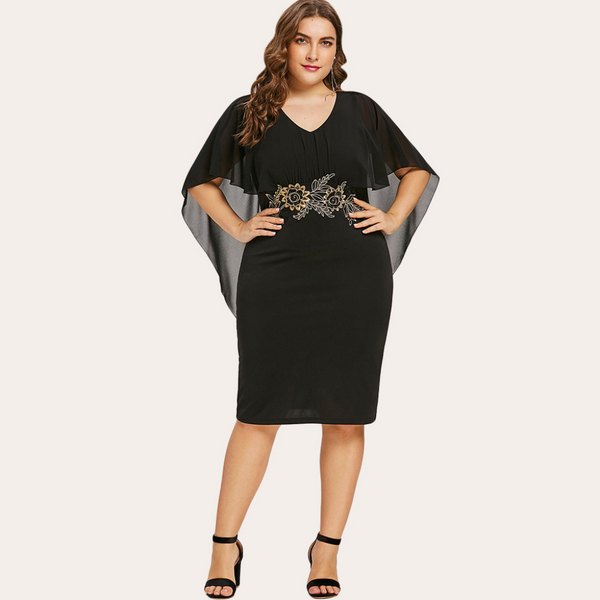 Capelet Semi Sheer V Neck Dress-Laura Sonia