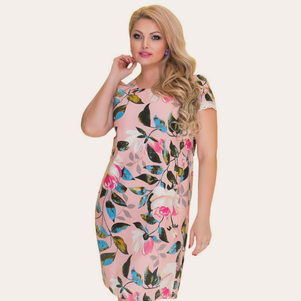 Light Pink Floral Print Vintage Dress-Laura Sonia